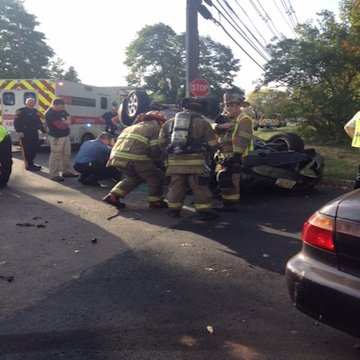 Overturned MVC during Rush Hour (Easton Avenue and Landing Lane)