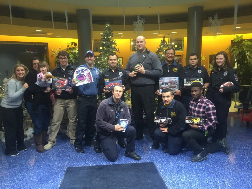 Station 27 visits Children's Hospital at RWJUH and St. Peters to deliver Christmas Cheer!