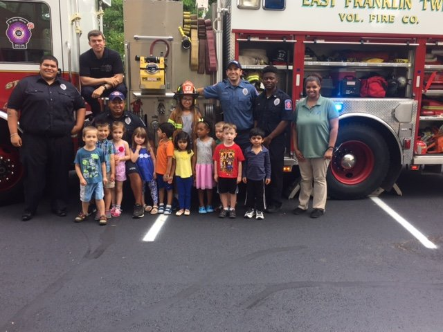 East Franklin visits Child Time Daycare for Alphabet Day