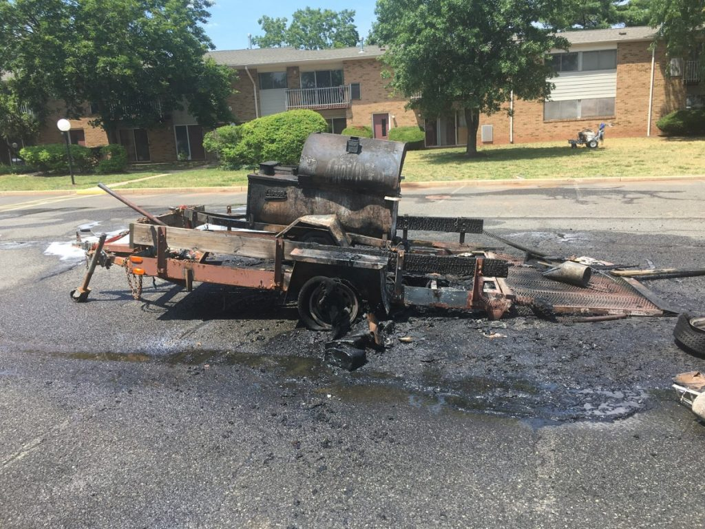 Fire District #3 responds to Trailer Fire at Franklin Greens Apartment Complex